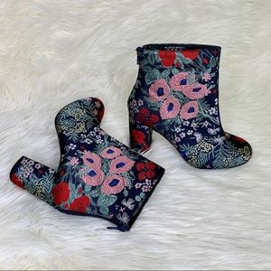 Brocade Block Heel Boots Floral Tapestry Boots